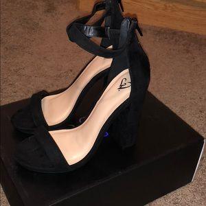 Ankle strap black block heel